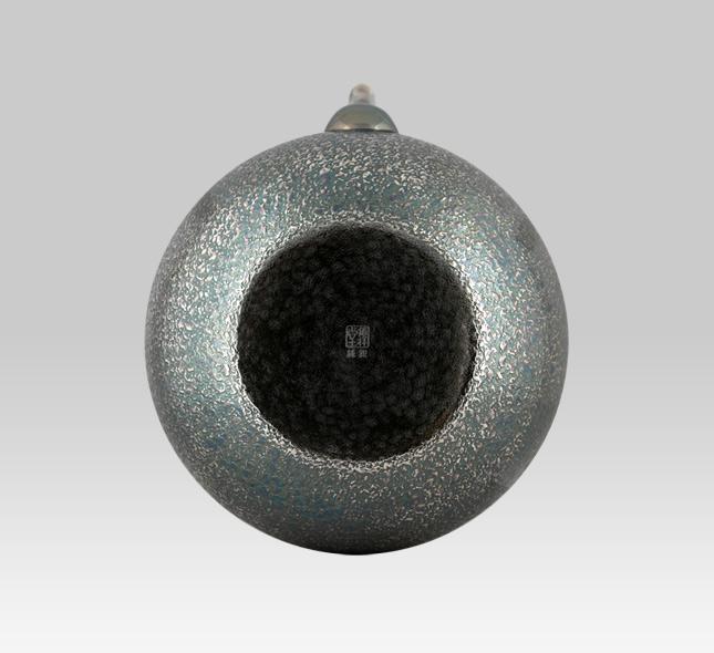 银壶 1000cc平丸型熏银荒目纹
