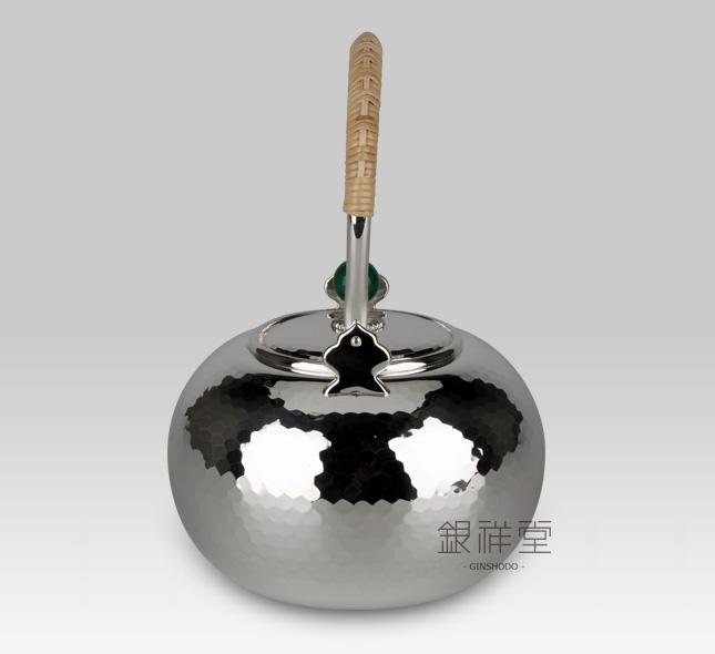 银壶 750cc平丸型(小)亮银槌目纹翡翠壶摘