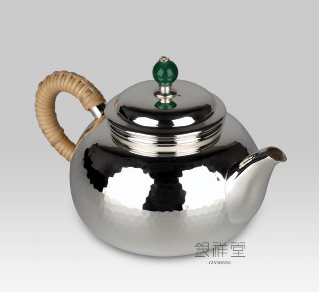 银茶壶 耳手急须3寸桃形棰目纹翡翠壶摘