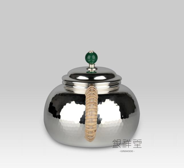 银茶壶 耳手急须220cc桃形棰目纹翡翠壶摘