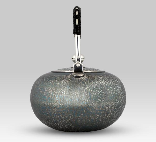 Silver Kettle 1,000cc Hiramaru (flat-round) Arame (rough-faced) Oxidized Silver