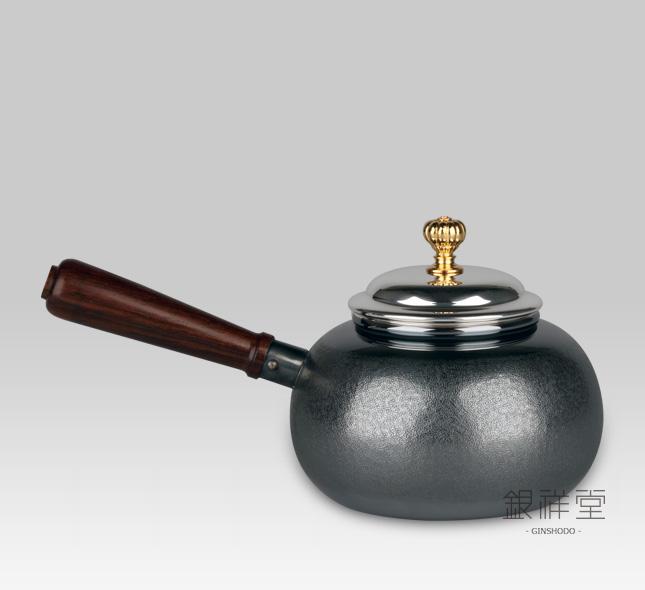 "Silver teapot 220cc peach shape,""Nashiji"",oxidized silve,rosewood handle,gold-plated lid"