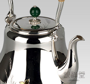 Silver Kettle 4.5sun long-slender-neck, autumn flower pattern
