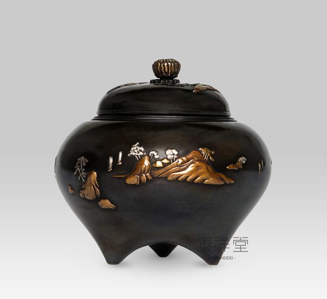 銅香炉 富士鶴香炉(彩色)