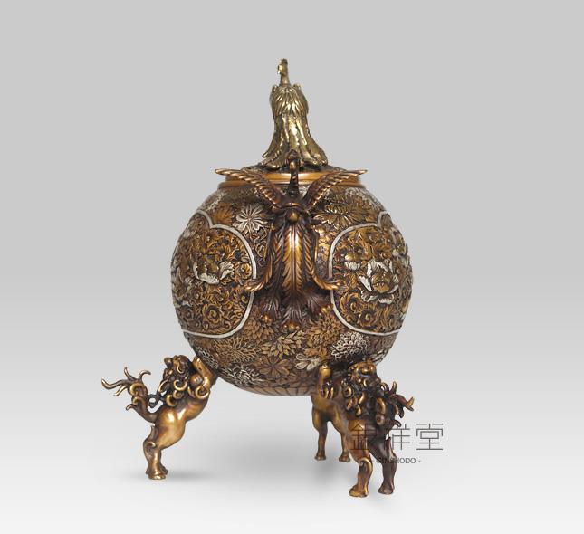 銅香炉 玉型孔雀地紋(蝋型青銅)