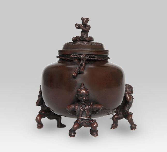 銅香炉 茶巾唐子 青銅製
