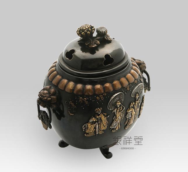 銅香炉 元禄模様