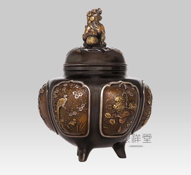 銅香炉 獅子蓋間取(花取)
