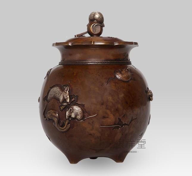 銅香炉 福香炉(焼色)