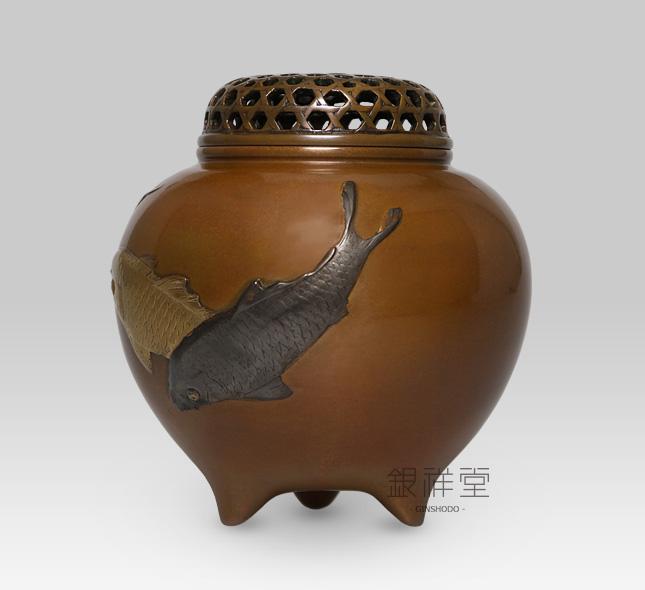 銅香炉 玉型鯉香炉(蝋型)