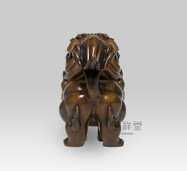 銅香炉 獅子香炉(煮色)