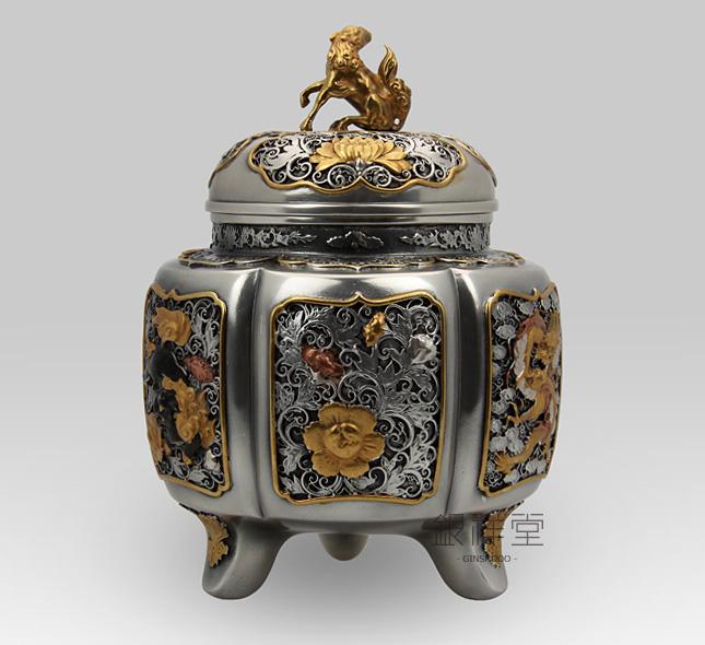銀香炉 六陵瑞鳥紋香炉