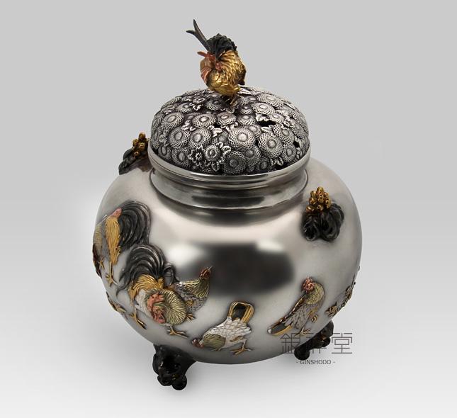 銀香炉 金鶏鳥香炉