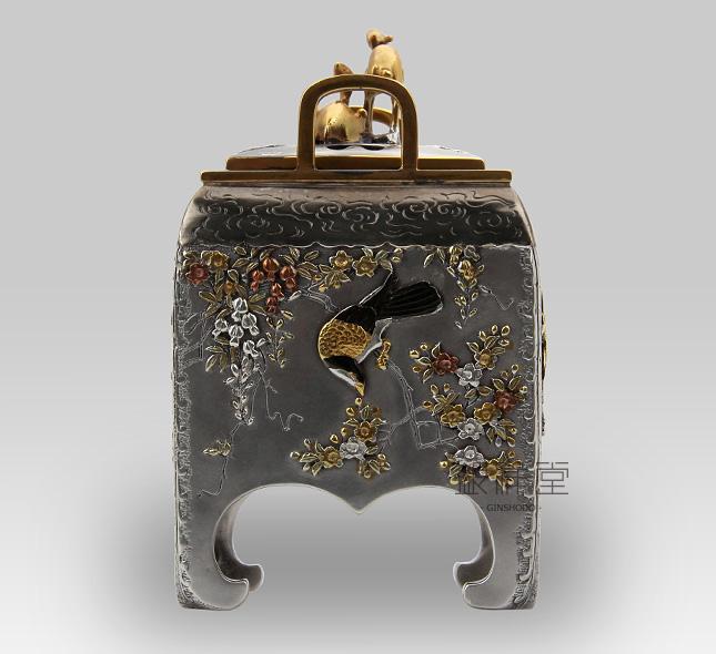 銀香炉 角型花鳥香炉