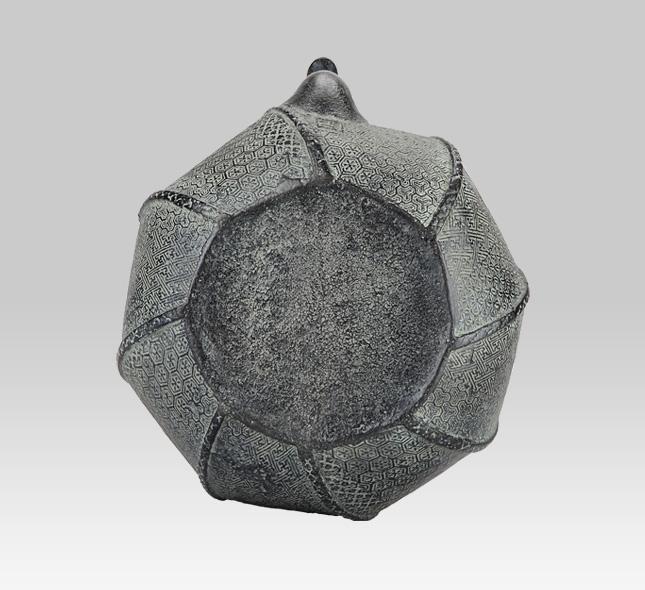 鉄瓶 蝋型ねじり七宝紋銀つまみ