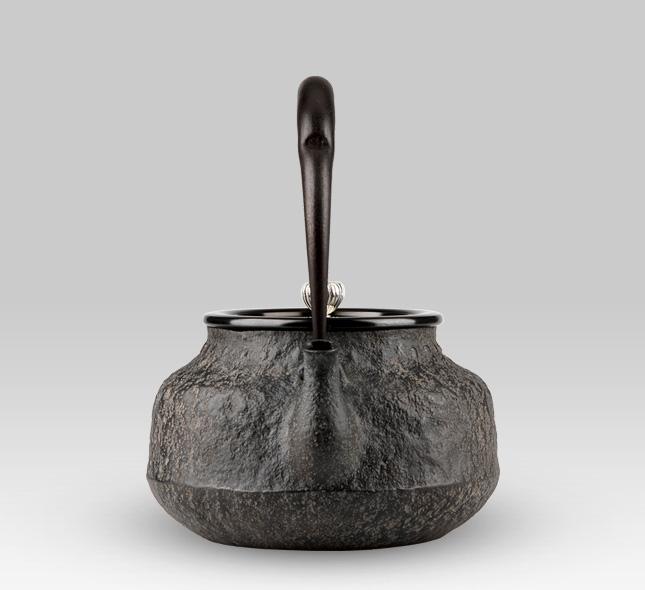 鉄瓶 復刻 龍文堂 荒肌平丸 銀製摘み