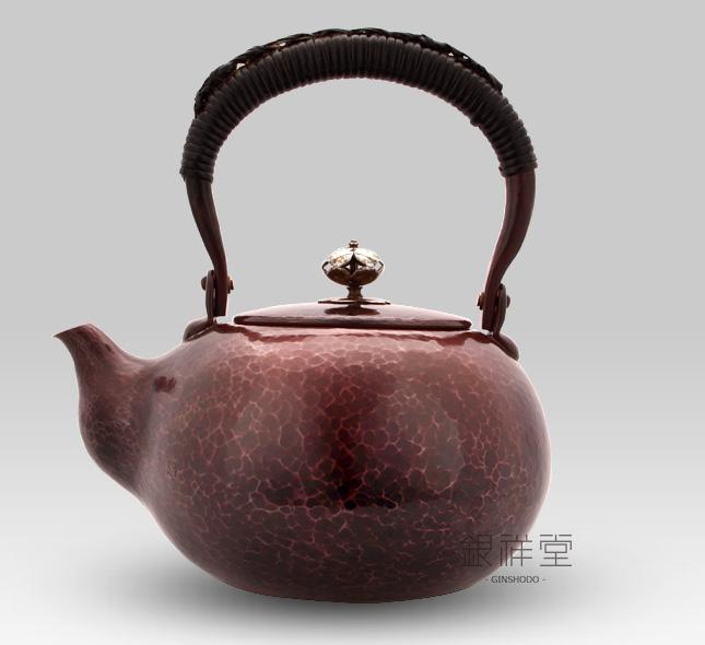 銅瓶 銀摘口打出宣徳燻銅湯沸
